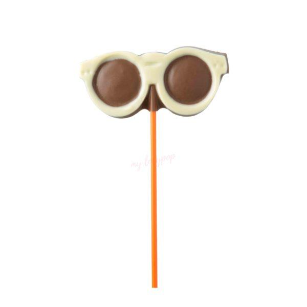 Piruleta de chocolate con forma de gafas