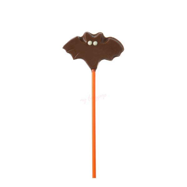 Piruleta de chocolate con forma de murciélago