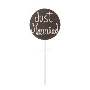 "Piruleta de chocolate redonda ""Just married"""