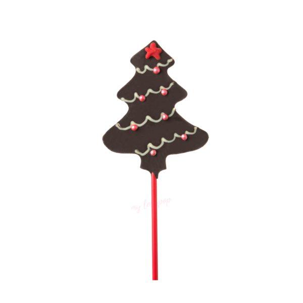 Piruleta de chocolate con forma de árbol de Navidad