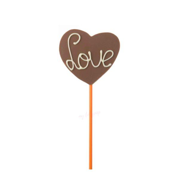 """Piruleta de chocolate con leche con forma de corazón """"Love"""""""