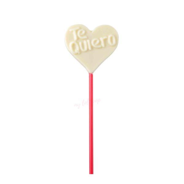 """Piruleta de chocolate blanco con forma de corazón """"Te quiero"""""""