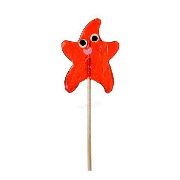 Piruleta artesana de caramelo con forma de estrella