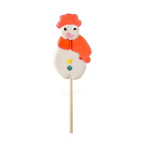 Piruletas artesanas personalizadas de caramelo cristal con muñeco de nieve