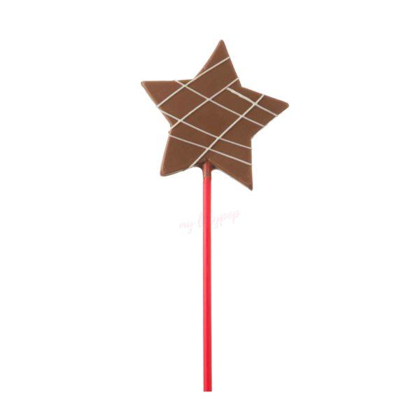 Piruleta de chocolate con forma de estrella