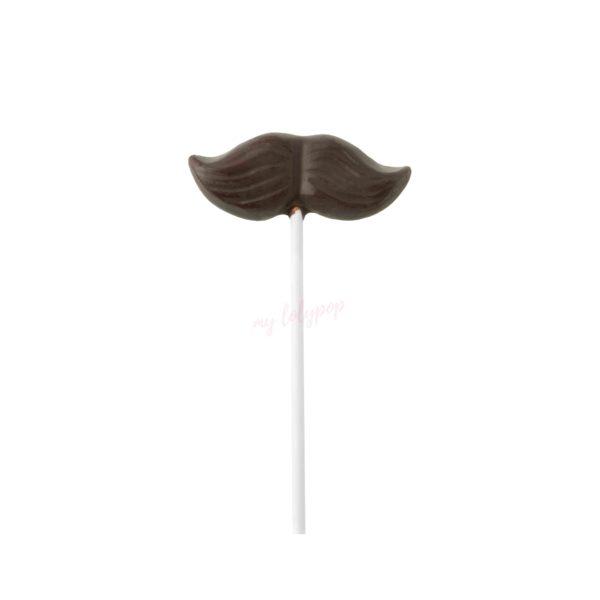 Piruleta de chocolate con leche con forma de bigote