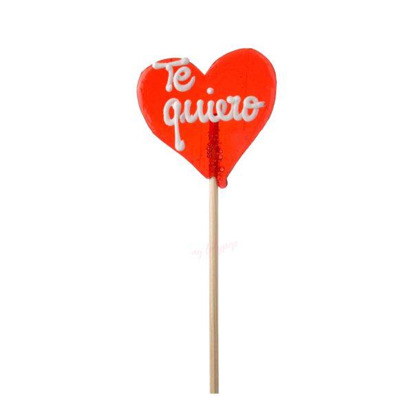 Piruleta artesana de caramelo mediana con forma de corazón y texto personalizable