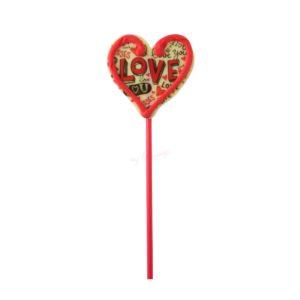 """Piruleta de chocolate blanco con forma de corazón """"Love"""""""