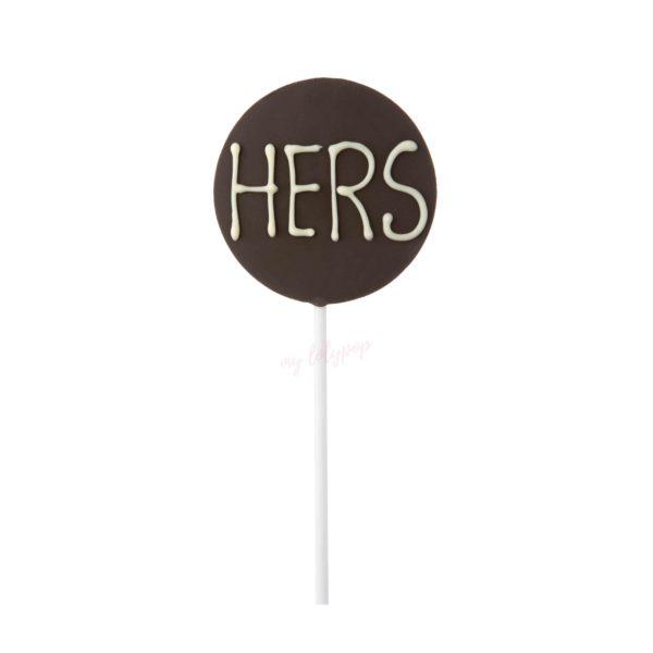"""Piruleta de chocolate redonda """"Hers"""""""